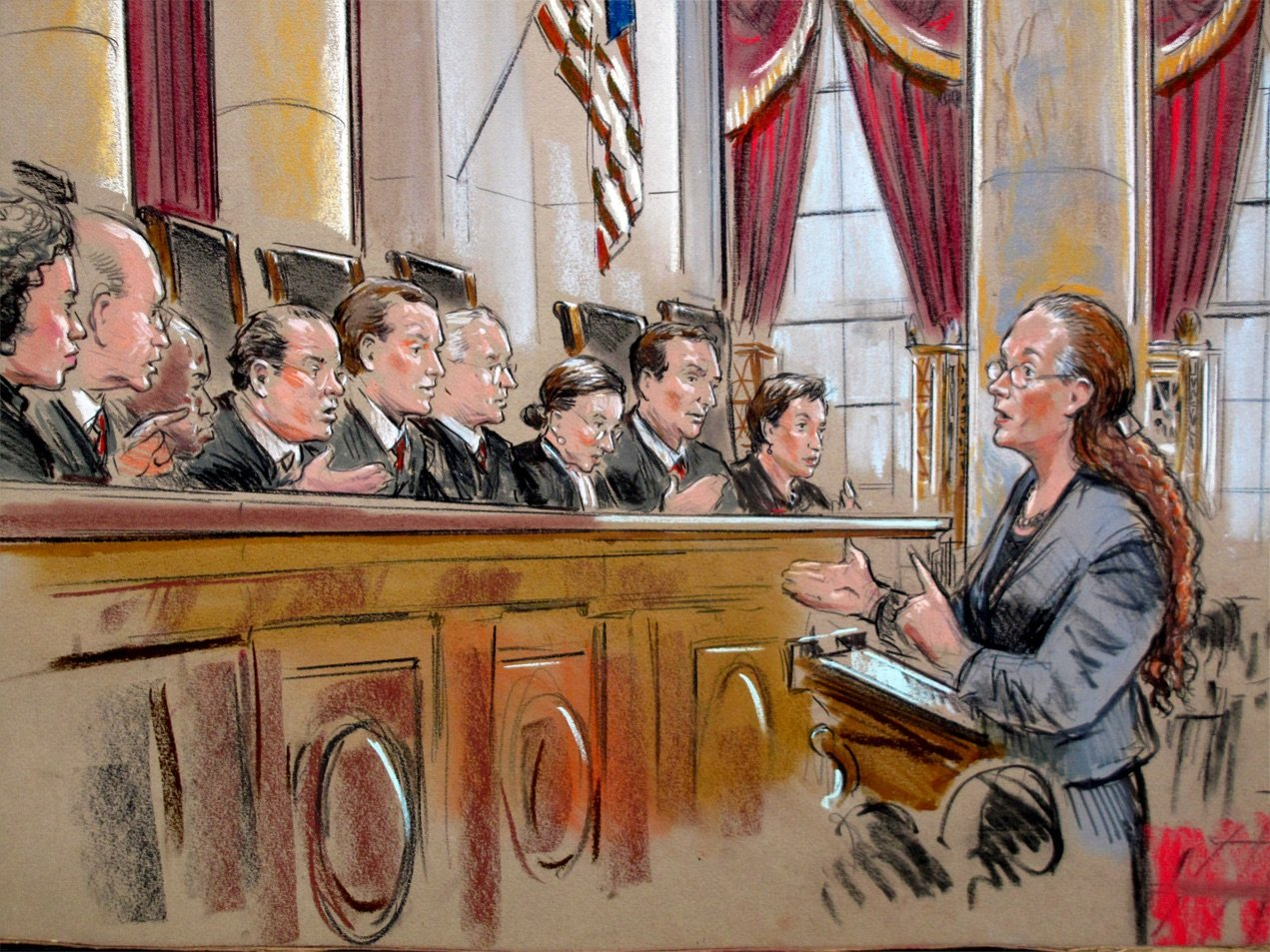drawing of a courtroom scene