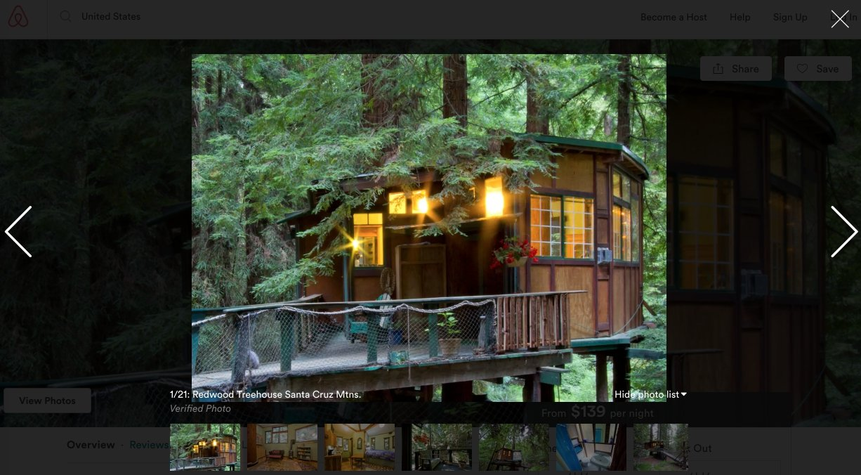 Airbnb treehouse listing example
